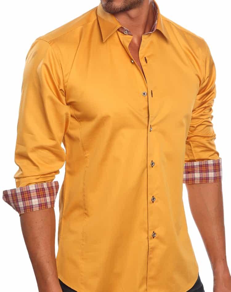 jared lang shirt men orange shirt  madrid 734