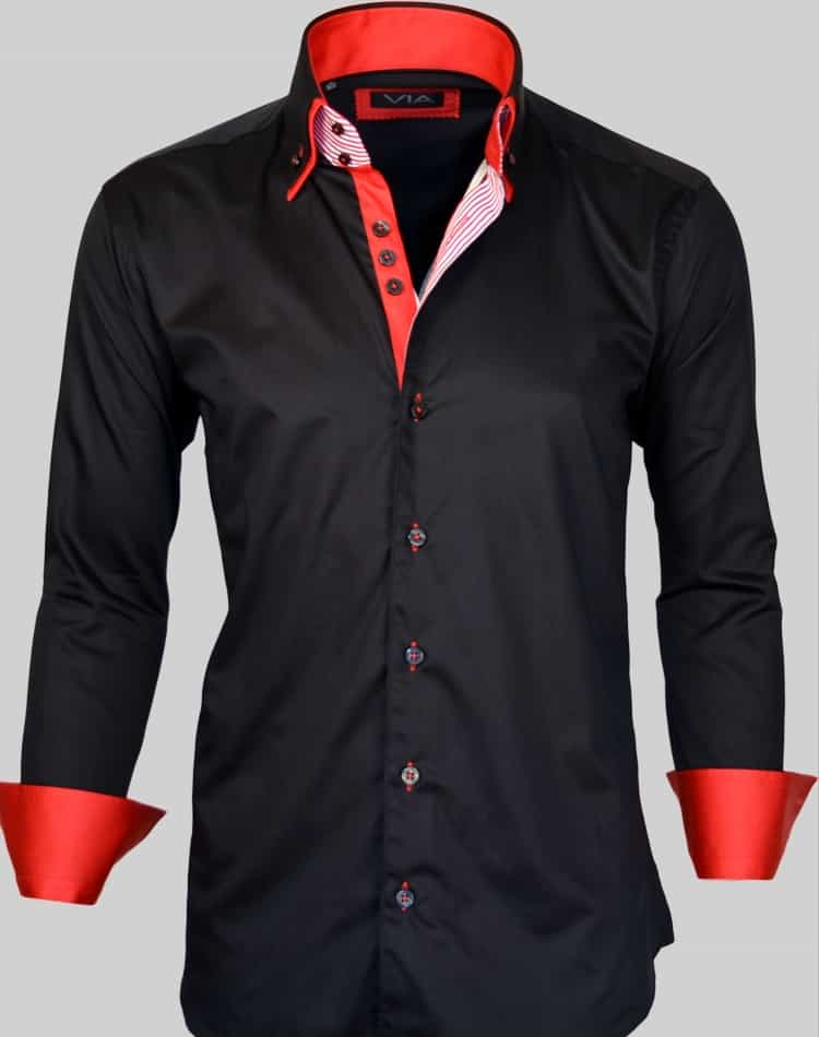 Our collection of black red shirts consists of black shirts with red trim or red shirts with black trim. We feature black red shirts in many beautiful styles, such as our women's button front shirt in black with a red lipstick print, or our black and red plaid winter tunic.