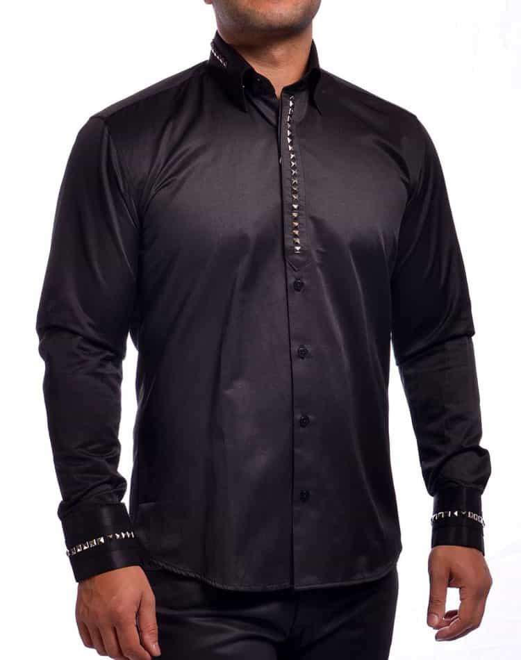 Mondo jeans dress shirt men black stud shirt for Black studs for dress shirt