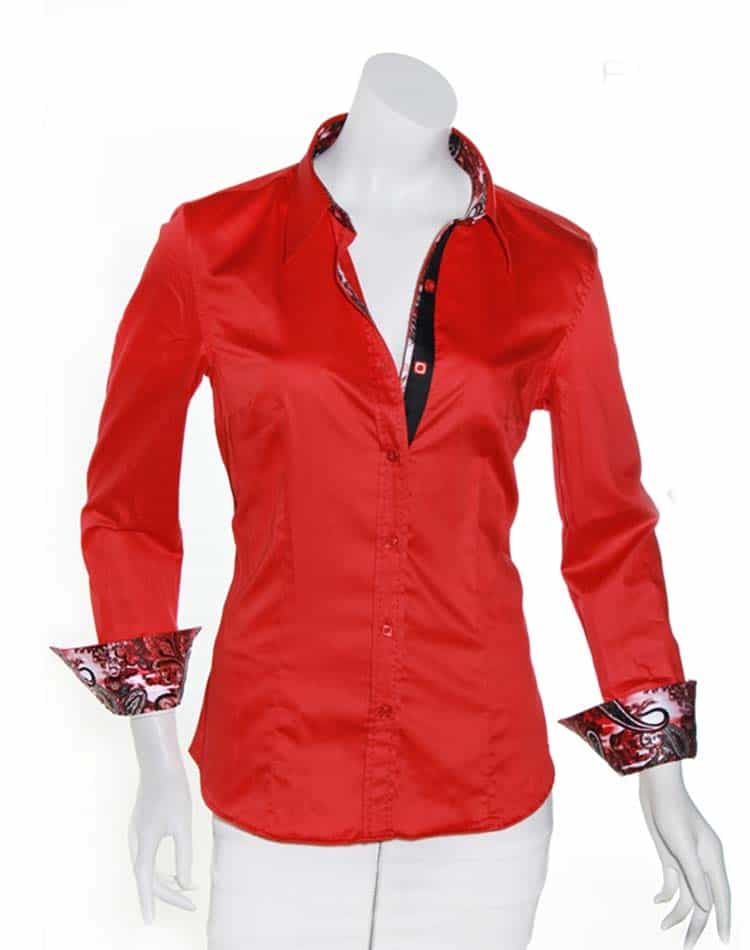 Red Women Red Dress Shirt