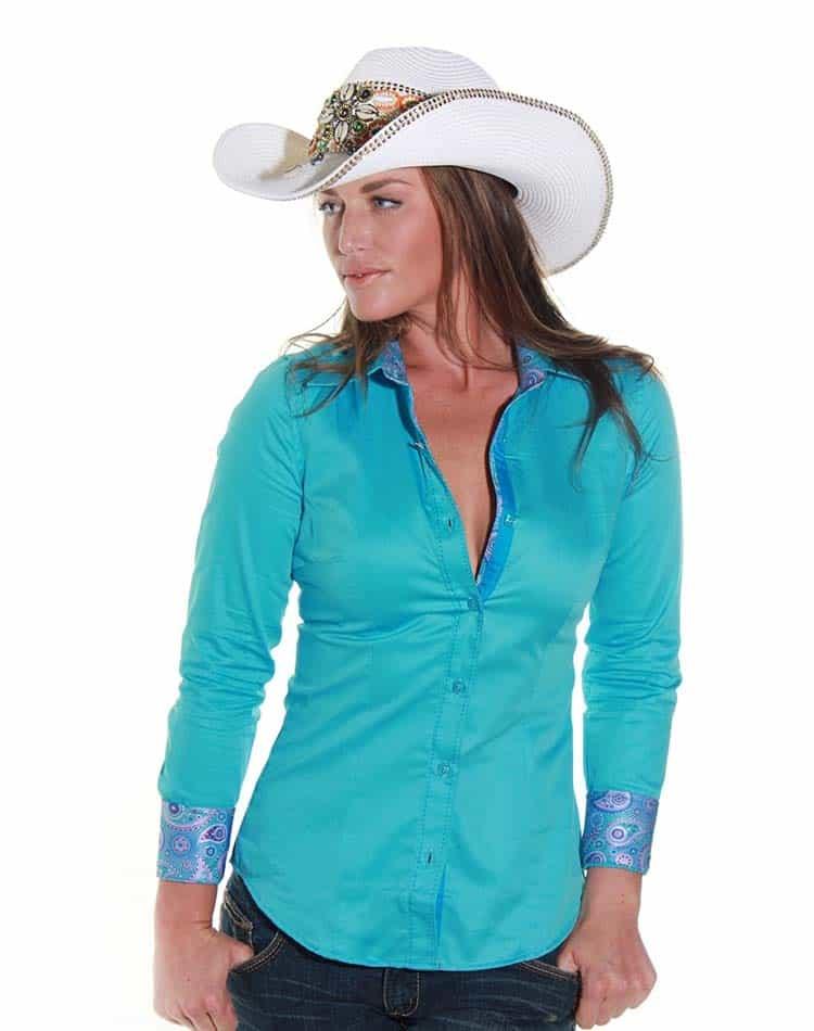 Envy Women Shirt Turquoise Dress Shirt
